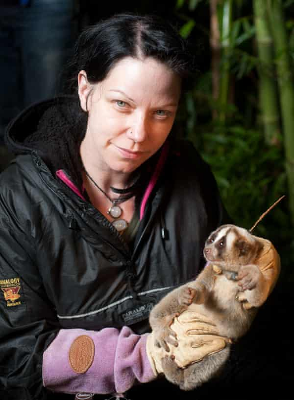 Anna Nekaris holds a slow loris.