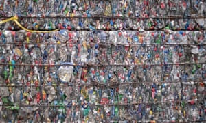 A block of compressed plastic bottles at a plastic waste centre on the outskirts of Beijing.