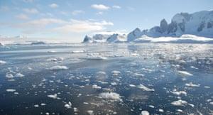 Iceberg fragments float in the Errera Channel