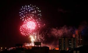 Fireworks explode above Buenos Aires' Saavedra neighbourhood, Argentina