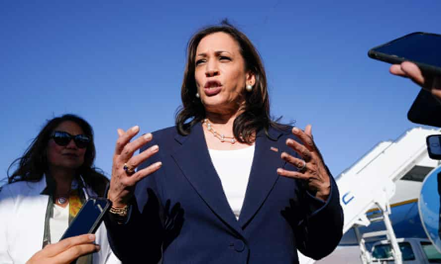 Kamala Harris told reporters: 'I said in March I was going to come [here], so this is not a new plan. But the reality of it is that we have to deal with causes and have to deal with the effects.'