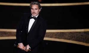 Not milk? Joaquin Phoenix at the Oscars.