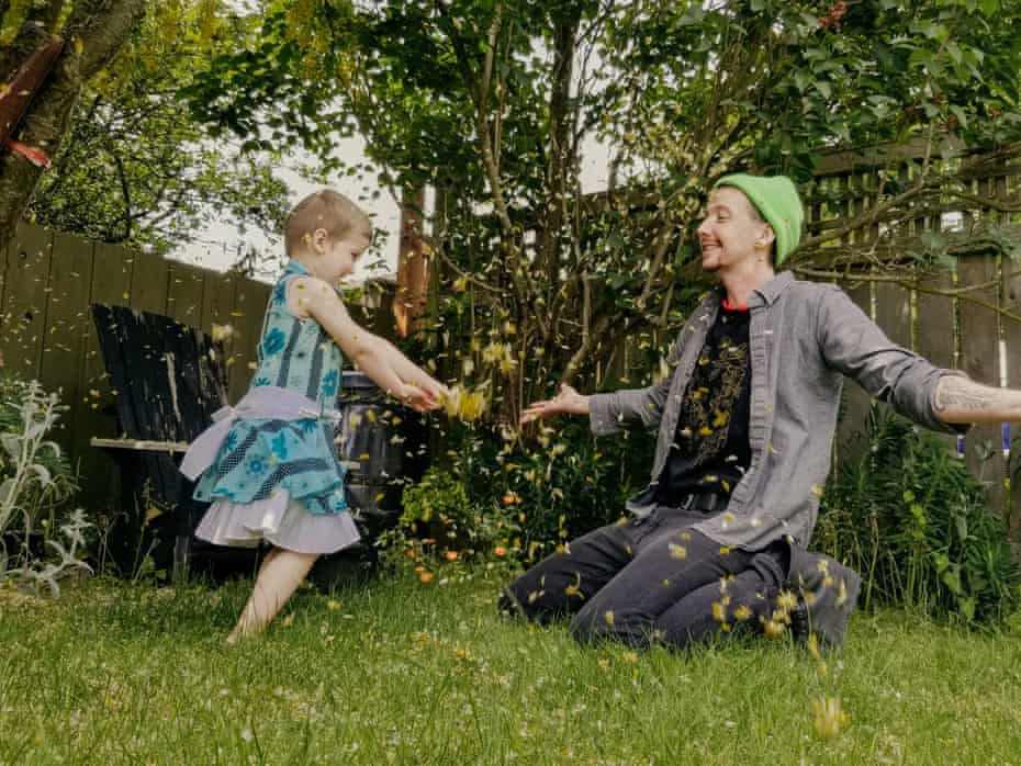 Kori Doty plays with their child Searyl at home in, B.C., Canada, June 3, 2020. Doty is raising Searyl without a gender assignment until Searyl can verbalize their gender for themself (Annie Tritt for Guardian with Colleen Langford) *photos were taken remotely