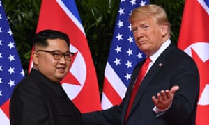 Trump with Kim in Singapore in June.
