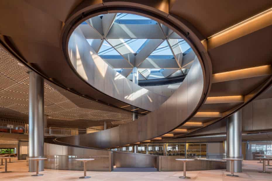 Bloomberg HQ's triple-helix ramp and atrium rooflight.