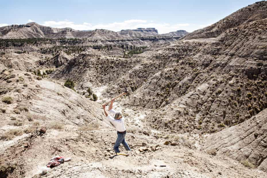 John Hankla breaks ground on a site where researchers will pull a 77m-year-old complete fossilized turtle from the ground, at Utah's Grand Staircase-Escalante National Monument.