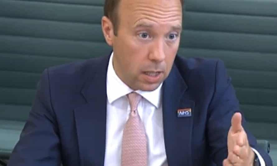 Matt Hancock answers questions from a Commons' committee about allegations by Dominic Cummings