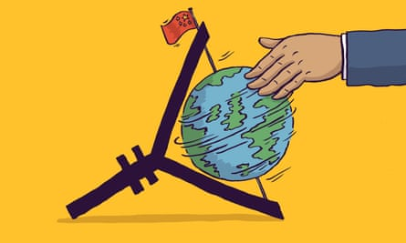 Illustration by Dom Mckenzie, showing a hand rotating a globe with a Chinese flag at the top.