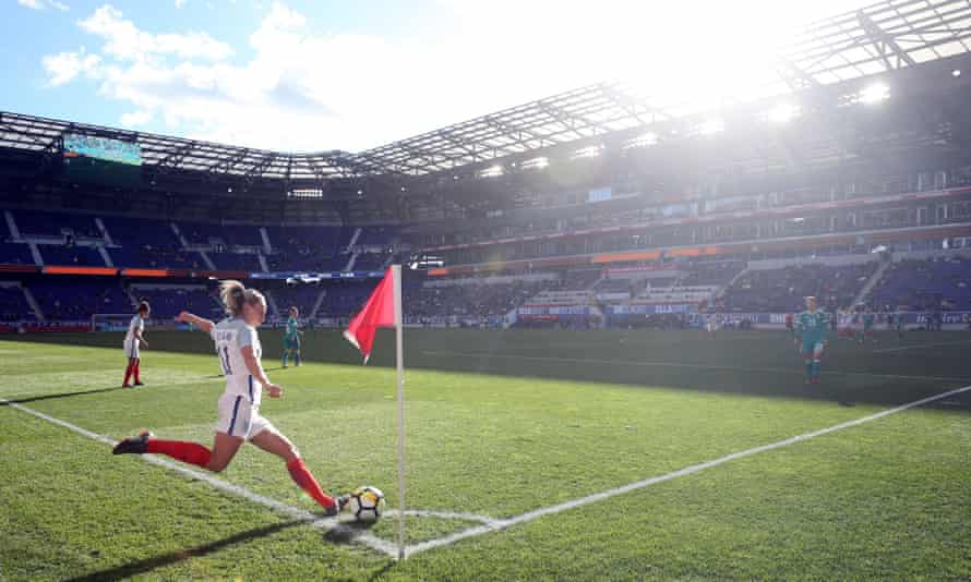 Toni Duggan takes a corner during England's game against Germany at the SheBelieves Cup in the United States.