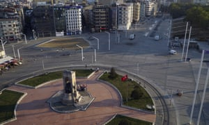 A deserted Taksim Square in Istanbul on Saturday morning.
