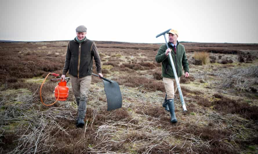 Bolton Abbey estate director Ben Heyes (above, on right) with gamekeeper Tom Adamson on Barden Moor with the tools needed for burning.