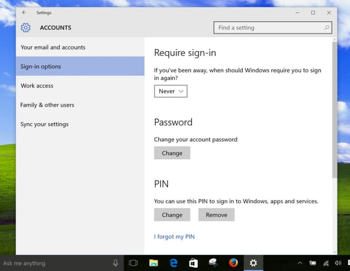 How can I stop Windows 10 asking me for my password