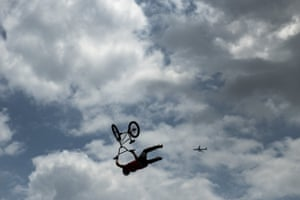 Irek Rizaev of the Russian Olympic Committee rides during the BMX Freestyle Warm Up at the Tokyo Olympics.