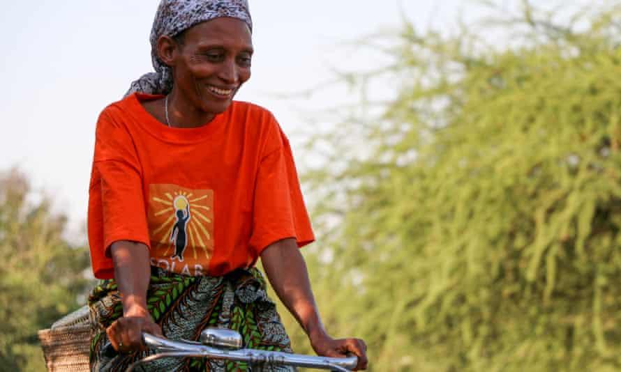 Hilaria Pashcal rides her bike