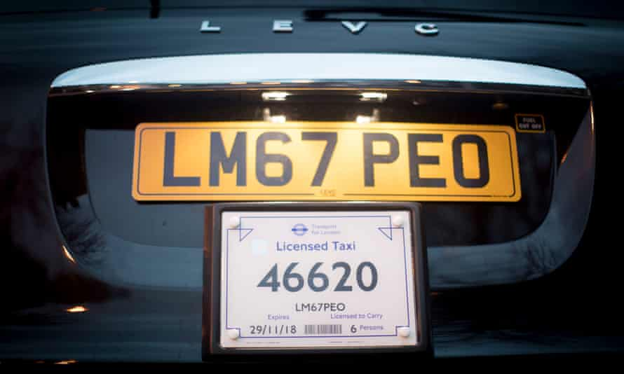 The new electric black cab number plate