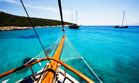 Traditional Turkish Sailing cruisers and yacht, near Bodrum,