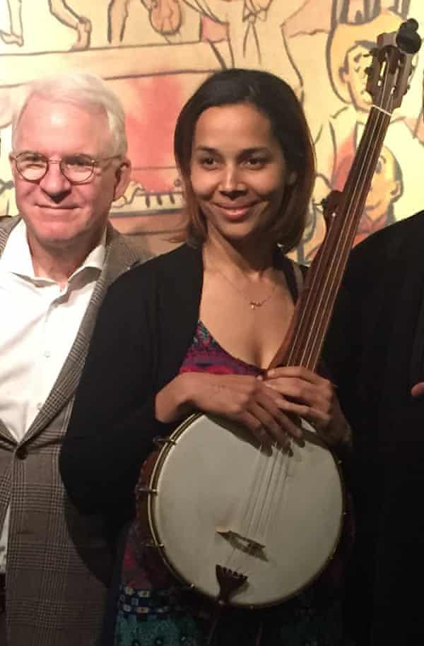 Funny turn … Giddens with Steve Martin, after winning his Award for Excellence in Banjo.