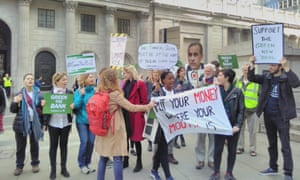 Climate change protests outside the Bank of England.