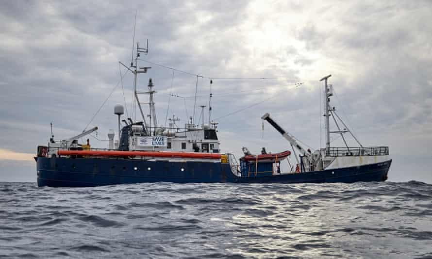 A rescue boat in the Mediterranean