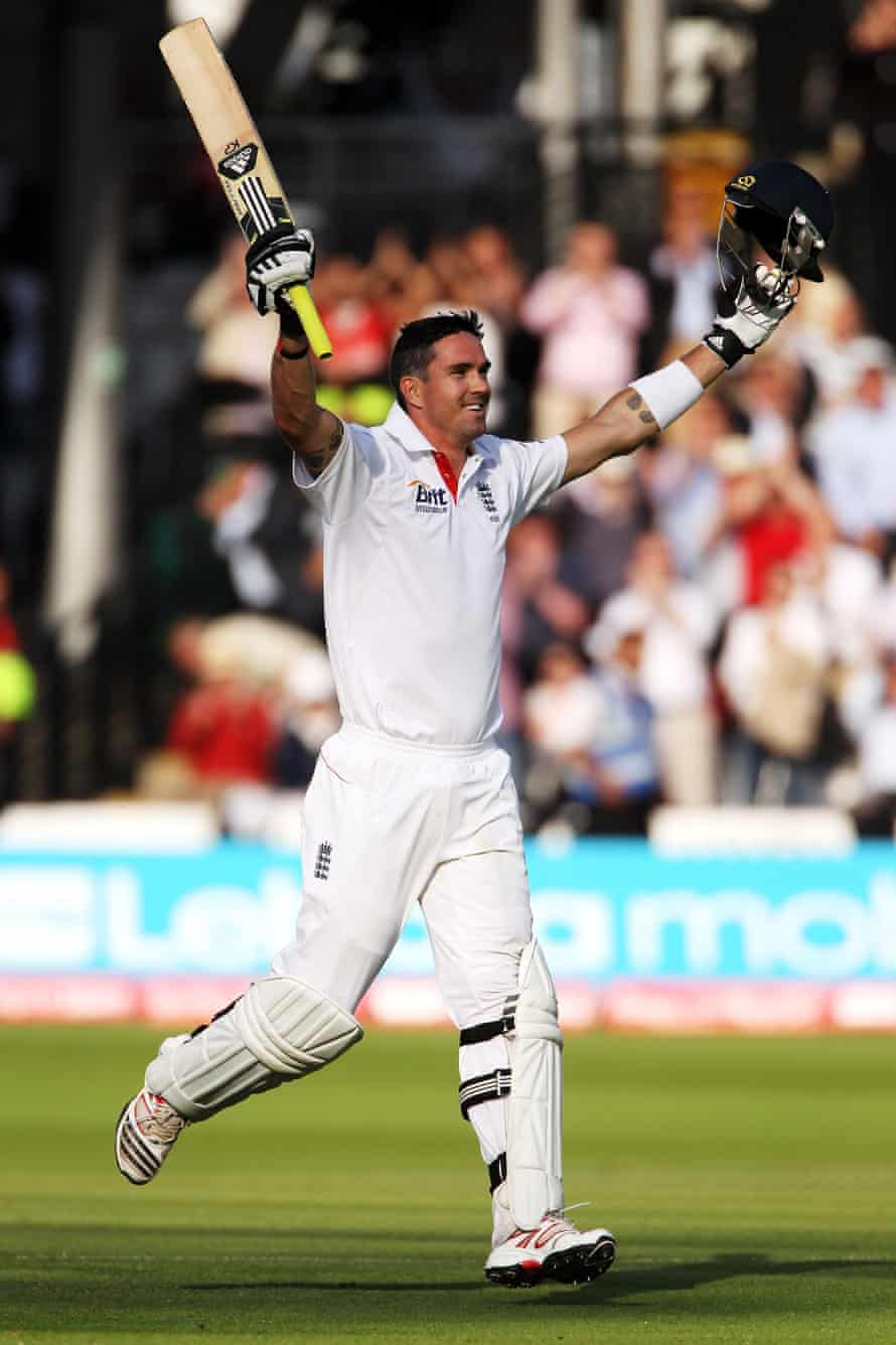 Kevin Pietersen of England celebrates hitting 200 during day two of the 1st npower Test Match between England and India at Lord's Cricket Ground on 22 July 2011.