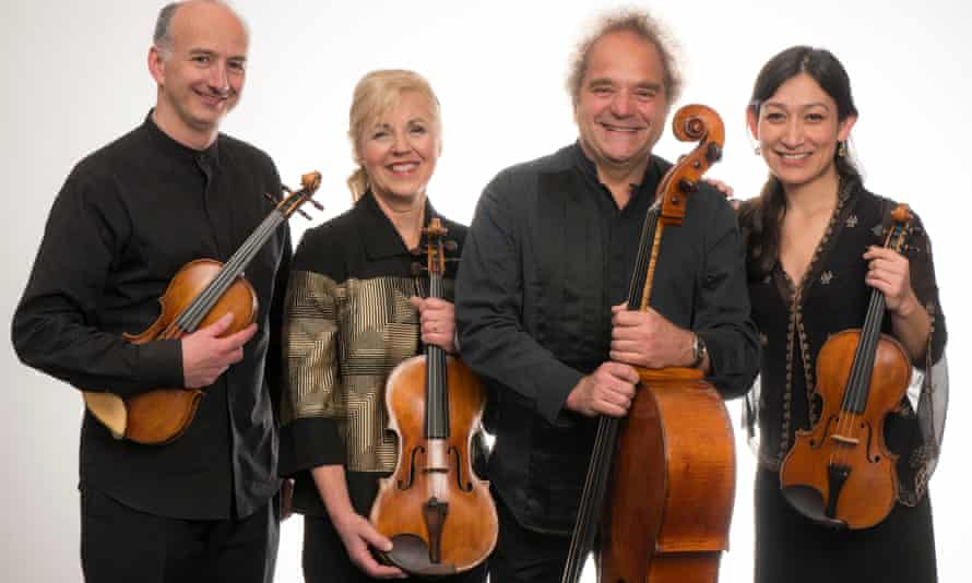 Almost telepathic command … Takács Quartet, with new second violin Harumi Rhodes, far right.