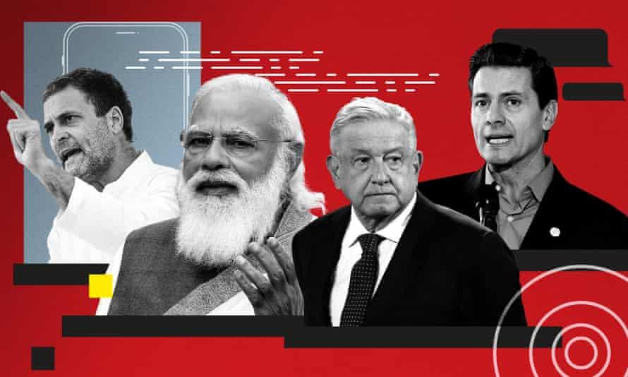 The Congress Leader, Rahul Gandhi, India's prime minister, Narendra Modi, Mexico's president, Andrés Manuel López Obrador, and former president of Mexico, Enrique Peña Nieto