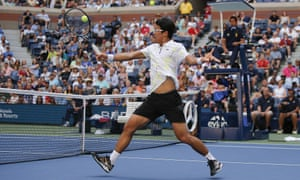 Hyeon Chung returns a shot to Rafael Nadal.