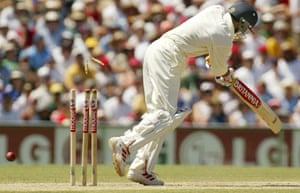 India batsman Ajit Akargar is clean bowled by Brett Lee in 2004.