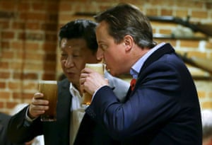 Cameron drinks a pint with Xi near Chequers