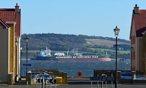 One of a fleet of Russian-owned oil tankers, the Samuel Prospect, berthed at Hound Point oil terminal on the Firth of Forth Estuary.