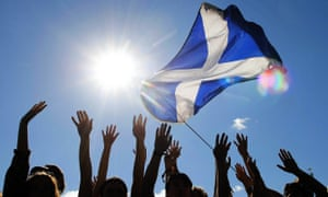 Scottish independent campaigners with the Scottish flag.