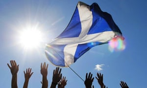A Scottish flag waves at a pro-independence rally in 2014.