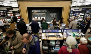 Customers shop at the newly opened Amazon Books store in Columbus Circle in New York.
