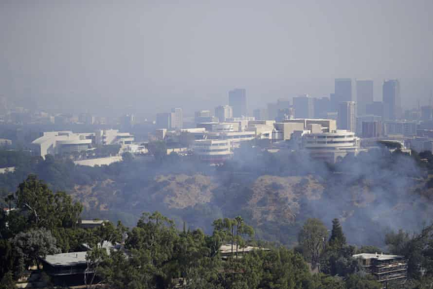 The Getty Center is shrouded in smoke as the Getty fire burns Monday in Los Angeles.