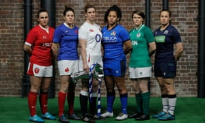 The Women's Six Nations captains: Wales' Siwan Lillicrap, France's Gaelle Hermet, England's Sarah Hunter, Italy's Giada Franco, Ireland's Ciara Griffin and Scotland's Rachel Malcolm.