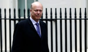 Chris Grayling arrives for the weekly cabinet meeting