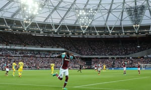 Cheikhou Kouyaté celebrates the second of his two goals in West Ham's commanding win over Domzale.