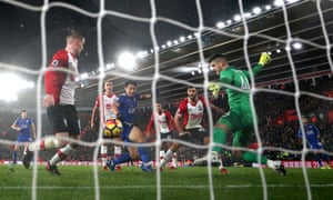 Shinji Okazaki slots the ball past Southampton keeper Fraser Forster of Southampton for the first of his two goals in Leicester City's 4-1 win at St Mary's earlier in December.