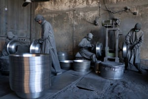 Herat, Afghanistan: Labourers at work in an aluminium factory in Herat