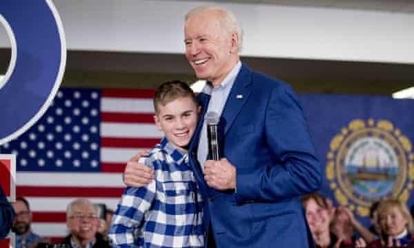 Joe Biden and Brayden Harrington, pictured in February 2020.