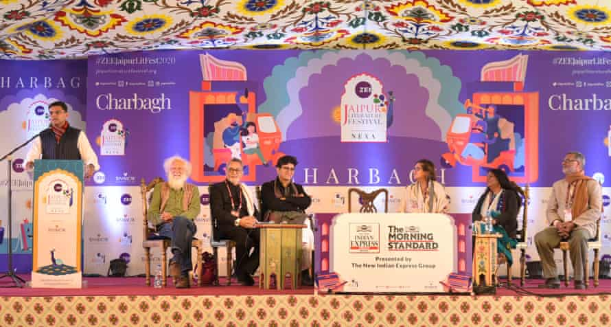 Rajasthan's deputy chief minister Sachin Pilot addresses the audience on the inaugural day of the Jaipur Literature Festival on 23 January.