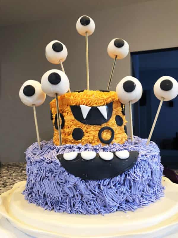 A homemade cake designed like a monster