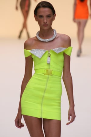 A model walks the catwalk for Christopher Kane during his first London fashion week show, 2006.