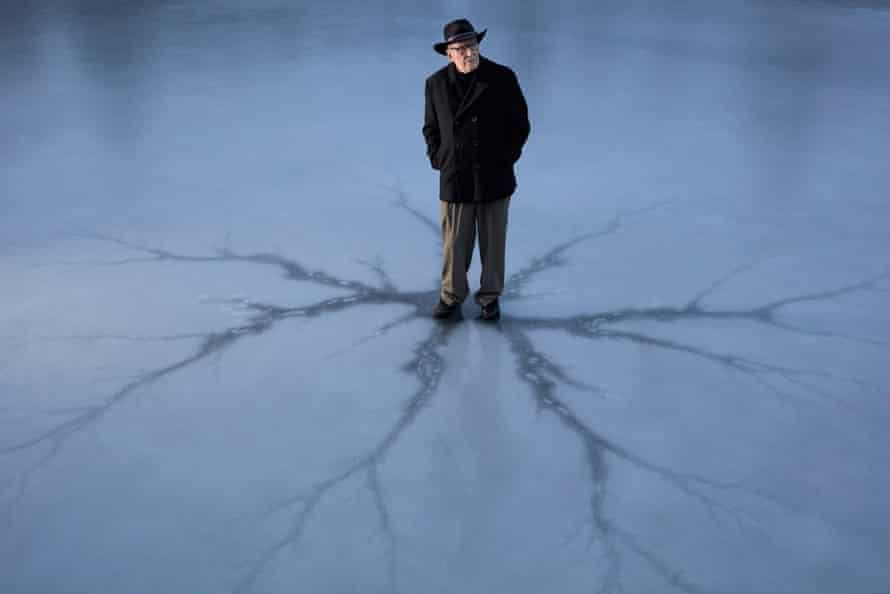 George Cockcroft, aka Luke Rhinehart, on a frozen lake near his home in Canaan, New York.