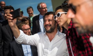 Matteo Salvini poses for a selfie