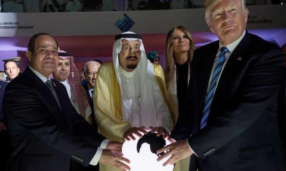Donald Trump meets Saudi Arabia's King Salman and the Egyptian president Abdel Fattah al-Sisi in Riyadh, accompanied by Melania Trump.