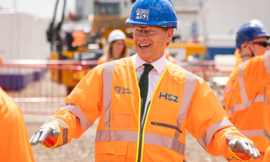 Grant Shapps, the transport secretary, during a press event on 23 June 2021 to announce the go-ahead for work on the HS2 station at Old Oak Common.
