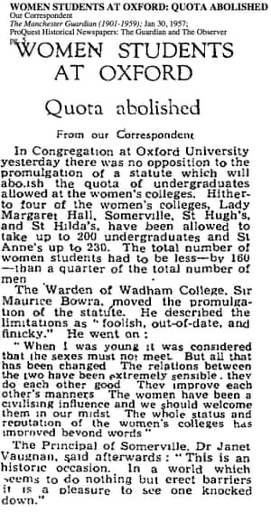 Women students at Oxford: quota abolished, Jan 30 1957