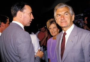 The Hawkes with Paul Keating in 1988