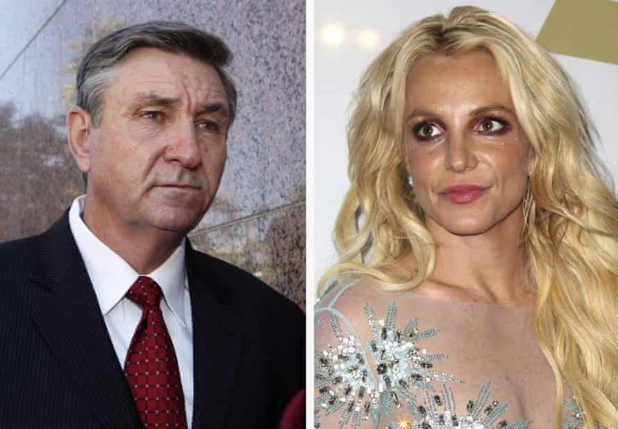 Jamie Spears, left, father of Britney Spears, right, in separate photos side by side.